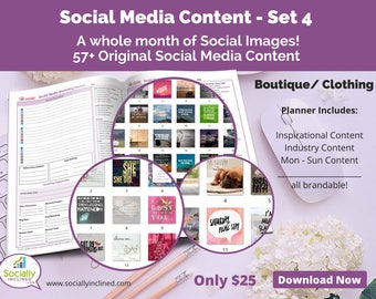 Social Media Images - Content for Clothing / Boutique (SET 4) -- 57+ original images with blank planner pages, checklists, tasks, and goals