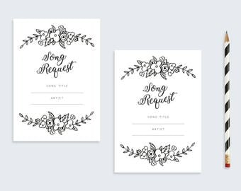 Floral Song Request Card | Printable DIY Wedding Stationary | A6 Printable Card