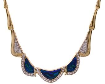 1.05 Carat Round Cut Diamond & Three Opal Gemstones Necklace 14K Yellow Gold