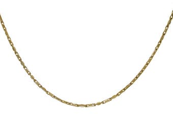Bar Link Chain Made In Italy Yellow Gold Over Silver 18""