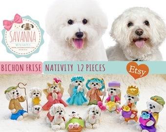 Dog Nativity Bichon Frise set 12 pieces