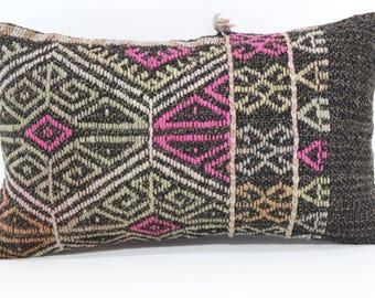 Turkish Kilim Pillow Embroidered Kilim Pillow 12x20 Lumbar Kilim Pillow Decorative Kilim Pillow Boho Pillow Cushion Cover SP3050-1015