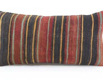 Sofa Pillow Throw Pillow Ethnic Pillow Striped Kilim Pillow Boho Pillow 12x24 Lumbar Kilim Pillow Turkish Kilim Pillow SP3060-949