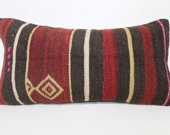 12x24 Handwoven Kilim Pillow Sofa Pillow Ethnic Pillow 12x24 Lumbar Kilim Pillow Ethnic Pillow Turkish Lumbar Kilim PillowSP3060-1462