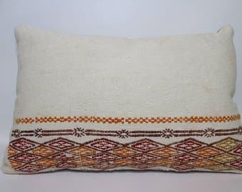 White Kilim Pillow 16x24 Kilim Pillow Turkish Kilim Pillow  Bedroom Kilim Pillow Decorative Kilim Pillow Lumbar Pillow SP4060-929