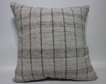 20x20 Throw Pillow Sofa Pillow Ethnic Pillow 20x20 Striped Kilim Pillow Organic Pillow Naturel Kilim Pillow Cushion Cover SP5050-2234
