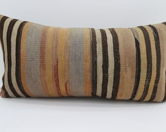 12x24 Striped Kilim Pillow Multicolor Kilim Pillow 12x24 Lumbar Pillow Black and Yellow  Kilim Pillow Throw Pillow Cushion Cover SP3060-1770