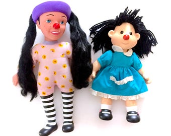 """Vintage 90s Big Comfy Couch Molly Plush & Loonette Talking Doll Lot Complete Blue Dress  12"""" Red nose Black Hair Clown 90s Retro TV Show"""