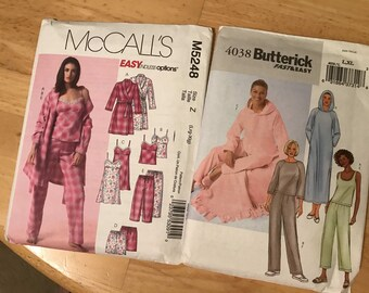 Set of 2 Uncut sewing patterns pj's - sleepwear McCalls M5248 & Butterick 4038