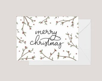 Printable Merry Christmas Card | Greeting Card | Holiday Card | | Xmas Card | A2 Card | Christmas Holly Card | Simple Christmas Card