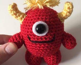 Made to Order - Red Monster, Crochet Monster, Amigurumi Monster, Monster Plush, Crocheted Stuffed Animal, Little Monster, Cute Monster