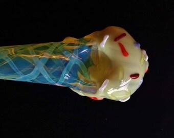 Glass Ice Cream Cone Pipe (w/  UV Sprinkles)
