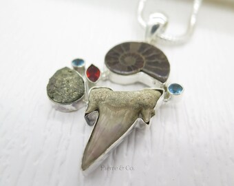 Ammonite Fossil Shark tooth Pyrite Garnet Sterling Silver Pendant and Chain