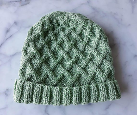Aran knit beanie: original design handknit in green sparkly yarn. Great for St. Patrick's Day! Made in Ireland. Cable knit beanie for her.