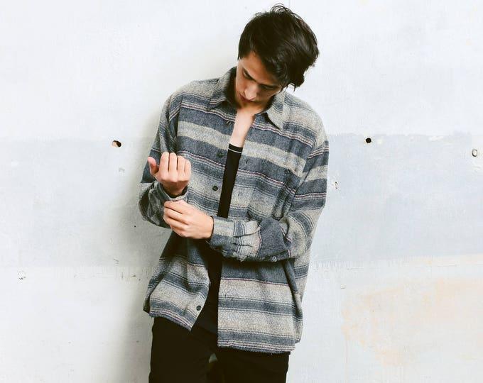 Aztec Grey Vintage Shirt . Men's Button Down 90s Grunge Grandpa Shirt Striped Retro 90s Shirt Boyfriend Wear Mens 90s Fashion . size Large L