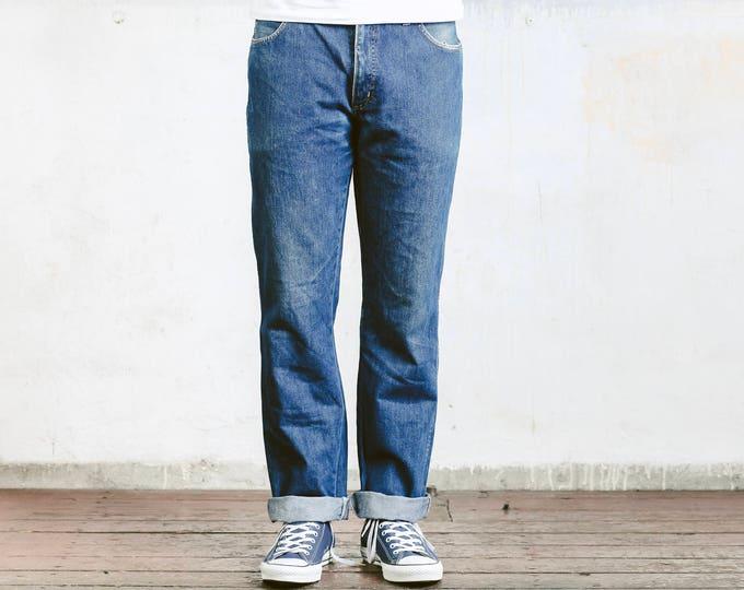 Mens 90s Wrangler Jeans . Wrangler Straight Leg Blue 90s Jeans 90s Boyfriend Jeans 90s Denim Pants Menswear . W34 L32