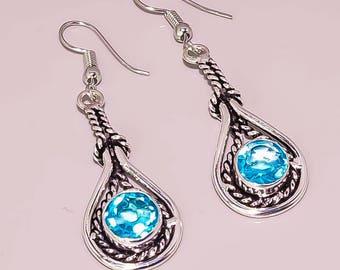 E2 London Blue Topaz Beautiful Handmade Design.925 Sterling silver Plated Jewelry Earrings