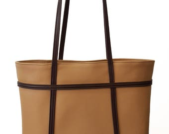 Tan and brown leather tote bag