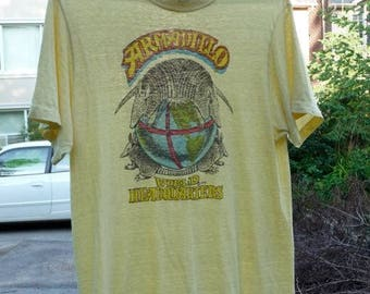 Armadillo World Headquarters T-shirt, Austin Texas, Yellow, Jim Franklin design logo