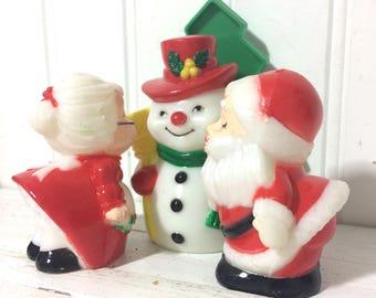 Vintage Kitsch Christmas Salt Pepper plus Napkin Holder