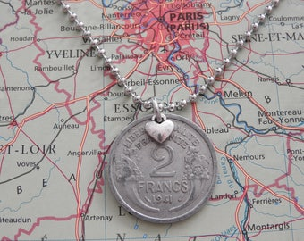 France 1941/1943/1945/1946/1947/1948 vintage 2 Franc coin necklace - wedding present - 76e - 74e - 72e - 71e - 70e - 69e birthday