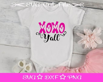 XOXO Y'all SVG, Valentine SVG, First Valentine svg File, svg Cut File for Silhouette Cameo, Cupid svg, Love svg, xoxo svg