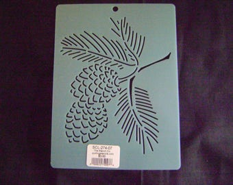 Sashiko Japanese Embroidery Stencil 7 in. Pine Cone Motif Block/Quilting