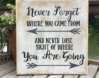 Never forget where you came from,Gallery Wall Decor,Family sign,Inspirational sign,wood sign saying,family wood sign,going away gift
