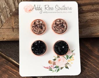 12mm rose gold druzy, rose gold stud earrings, druzy studs, druzy earrings, rose gold druzy earrings, rose gold earrings, bridesmaid earring