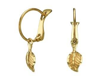 14K Solid Yellow Gold Earrings Falling Leaf Hoop  Charm Leverback Child Teen Baby Children Gift Girls Kids