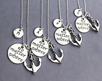 Set of 4 Necklaces925 Sterling silver,No matter where, best friend necklace - set of 4, bff jewelry,no matter where set of 4 necklace, gift
