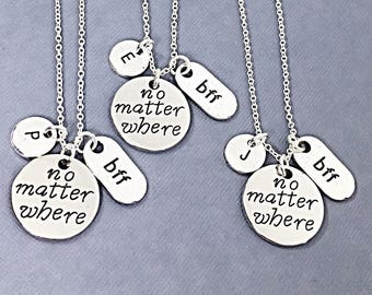 3 Distance Friendship Gift Necklaces Jewelry Personalized Distance BFF Friendship Long Distance BFF Jewelry Gifts Set of 3 Best Friends Gift