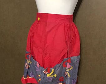 Vintage Red Skirt Apron with Deep Pockets