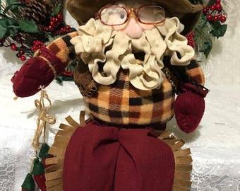 Vintage Cowboy Santa Claus Christmas Decor Sitting Santa Claus