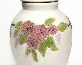 Floral Pottery Pot with 3D Flowers in Pink and Blue Lidded Pot Chinesse Decor