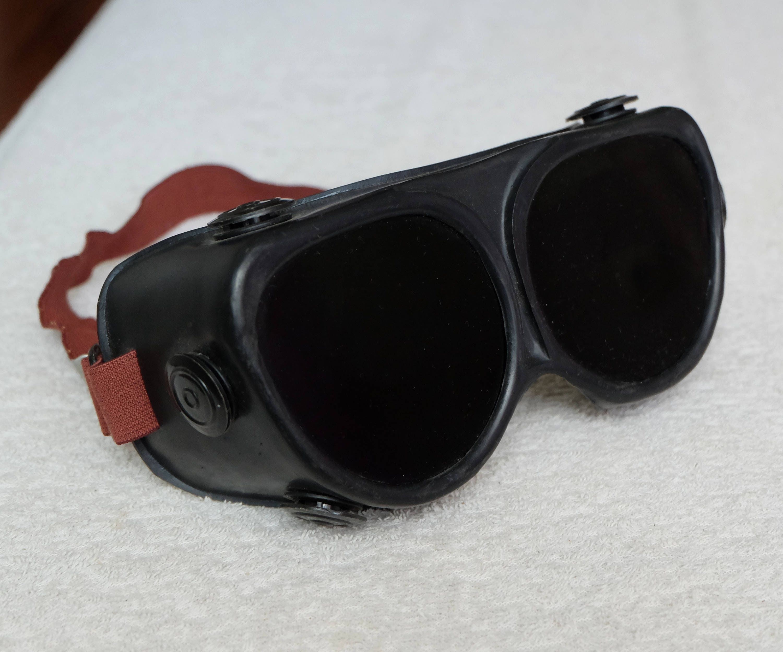78d28346e04d Vintage Spectacles, big black protective glasses, original Soviet plastic  welding goggles, dark mask