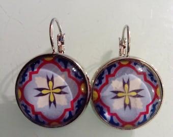 Earring pendant multicolored mosaic pattern cabochon earrings, vintage, ethnic