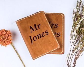 Mr and Mrs Passport holder - custom passport cover - travel passport - traveler gift - leather passport holder - wedding gift - set of 2