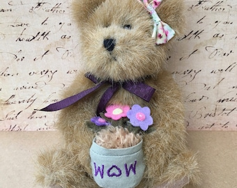 "Adorable Boyds Bear ""Ruthie"" with ""Pot"" of Flowers"