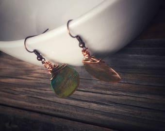 Bronze Teardrop w/ Wire Wrap Patina Earrings