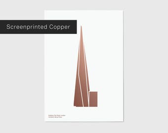 Metallic Copper Shard, London Screen Print | London Print | London Artwork | London Illustration | Architecture Print | City Print