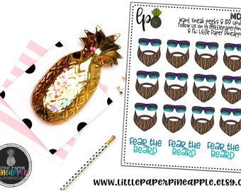 FEAR THE BEARD Doodle Planner Stickers | Repositional Matte Stickers | MD22
