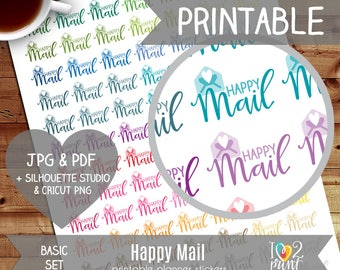 Happy Mail Printable Planner Stickers, Erin Condren Planner Stickers, EC Printable Stickers, Happy Mail Stickers - CUT FILES