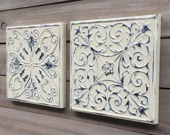 Pair of Tin Ceiling Tiles, Distressed Tan Paint and Black Finish, Metal Wall Art 3D Decor