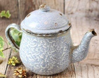 Vintage Enamelware Teapot, Blue Teapot, Vintage Enamel