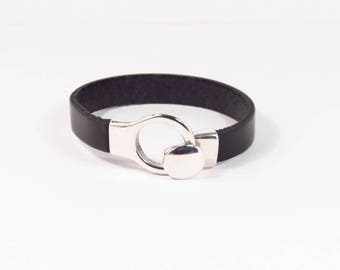 925 silver plated black leather strap