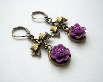 Polymer clay purple flower earrings