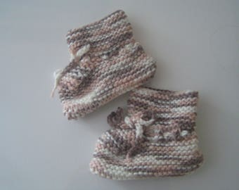 Baby booties hand knitted newborn to 3 months