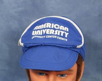 Vintage American University Cap Sac // Blue Bike Hat Cycling Cap // Zip Pouch // Washington DC Hipster