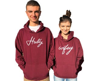 Wifey Hubby couple hoodies BOTH Burgendy, matching hoodie, come in a pair, BOTH**